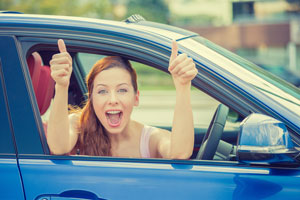 happy woman after wrong fuel fix